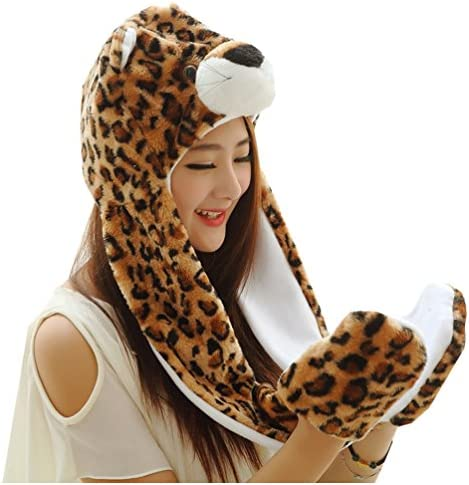 Meta-U Long Animal Faux Fur Hat Hood//Scarf//Snood//Gloves All in one