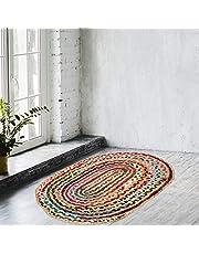 NAQSH Handmade Multicolored Reversible Braided Rag Rug (2 Feet, Multi Fancy (Jute+Cotton))…