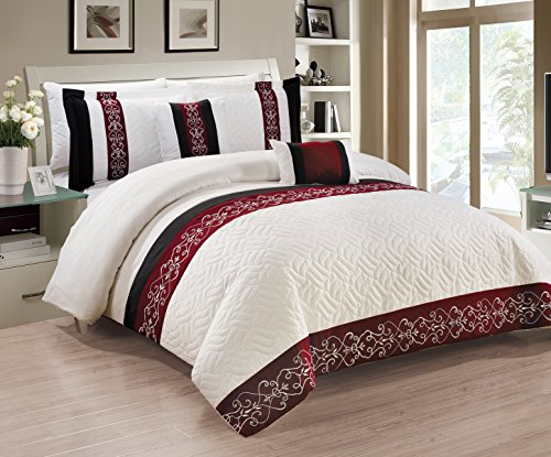 - RT Designers Collection Newton 5-Piece, Burgundy-King Comforter Set