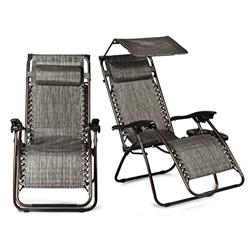 Cheap Belleze Set of 2 Ergonomic Recliner Phone Slots Reclining Zero Gravity Chairs Canopy Shade Cover w/Adjustable Pillows, Gray