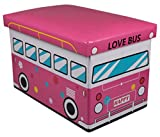 Pink 60's Love Bus Collapsible Toy Storage Box and Closet Organizer for Kids - Cushion Top
