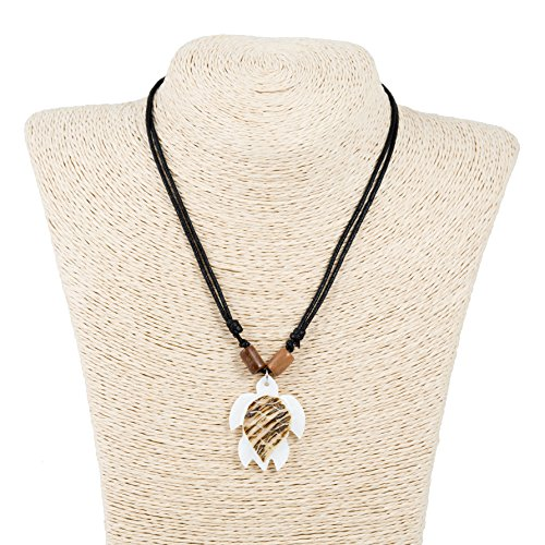 - Adjustable Corded Necklace with Wood Tubes, Hand Carved Sea Turtle Shell Pendant (Hammershell)