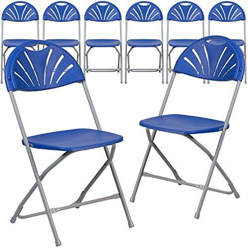 Flash Furniture 8 Pk. HERCULES Series 800 lb. Capacity Blue Plastic Fan Back Folding Chair