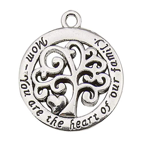 (20pcs Craft Supplies Mom You are The Heart of Our Family Tree of Life Words Charms Pendants for Jewelry Making Findings Crafting Accessory for DIY Necklace Bracelet Earrings (10340))