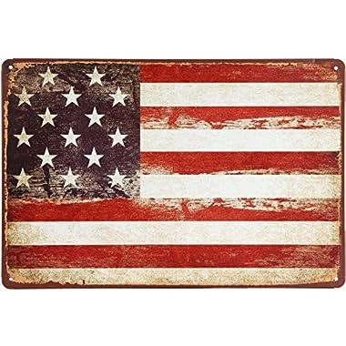 ERLOOD American Flag Logo Retro Vintage Decor Tin Sign