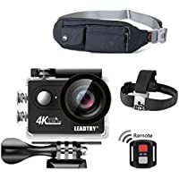 LeadTry HP7R 4K Action Camera with Premium Waterproof Waist Pack, WIFI Ultra HD Waterproof Diving Sports DV Camcorder 12MP 170 Degree Wide Angle 2 inch LCD Screen/ 2.4G Remote/2 Rechargeable Batteries