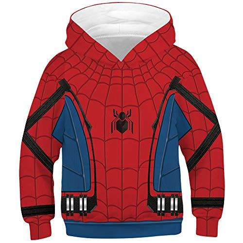- TAKUSHI HF Teen Boys Girls Fashion 3D Printed Galaxy Long Sleeve Pullover Hoodies Hooded Sweatshirts with Pocket 6-13Y (Spiderman Blue, L(12-13 Years))