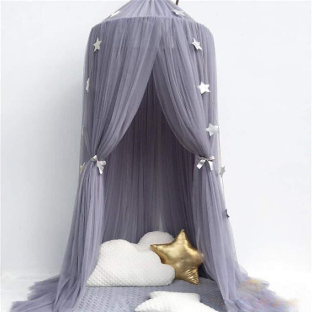 Fantastic Double-Layer Mosquito Net Bed Canopy Round Lace Dome Netting Hanging Curtains Castle Play Tent Bedding for Kids Indoor Reading Playing Games House Decoration (B-Gray)