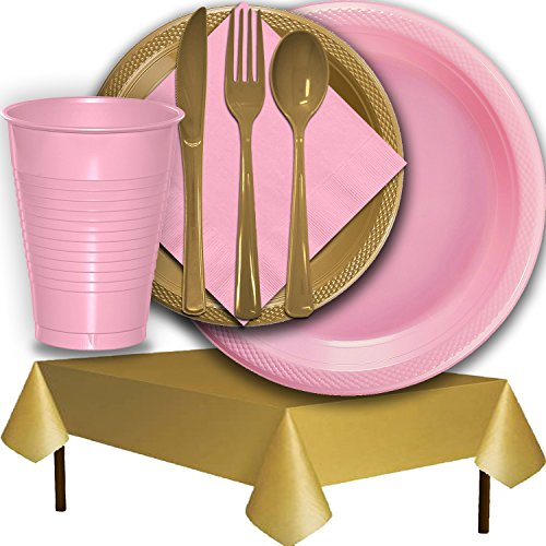 Plastic Party Supplies for 50 Guests - Pink and Gold - Dinner Plates, Dessert Plates, Cups, Lunch Napkins, Cutlery, and Tablecloths - Premium Quality Tableware Set