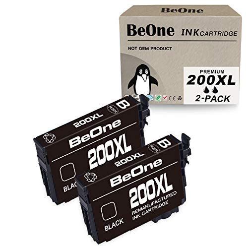 BeOne Remanufactured Ink Cartridge Replacement for Epson 200 XL 200XL T200 T200XL to Use with Expression Home XP-200 XP-300 XP-310 XP-400 XP-410, Workforce WF-2520 WF-2530 WF-2540 WF-2010F (2 Black) (Epson Ink Cartridges For 310)