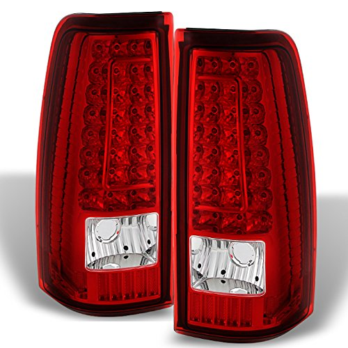 (For 99-02 Chevy Silverado 09-03 GMC Sierra Pickup Truck Red Clear G2 LED Tail Lights Brake Lamps)