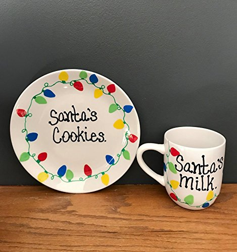 Santa's Cookies plate and Milk mug Christmas lights décor - Girl Personalized Hand Painted Plate