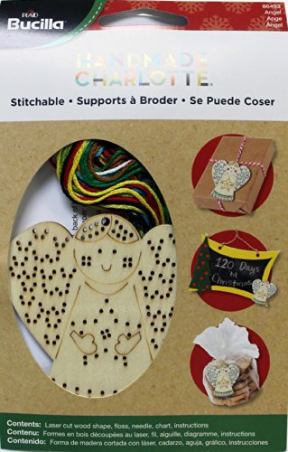 Bucilla Wood Stitchable Shapes Kit, 3 by 3-Inch, 86493 Angel