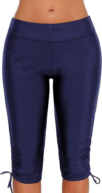Lau's Short de Bain Long Femme Maillot de Bain Legging Femme Capri Bas de Maillot Shorty
