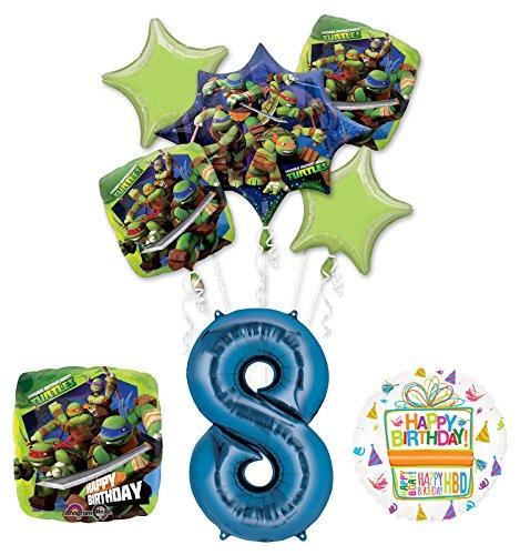 Teenage Mutant Ninja Turtles 8th Birthday Party Supplies and TMNT Balloon Bouquet Decorations ()