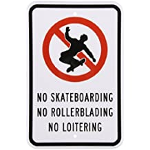 """SmartSign Aluminum Sign, Legend """"No Skateboarding No Rollerblading No Loitering"""" with Graphic, 18"""" high x 12"""" wide, Black/Red on White"""