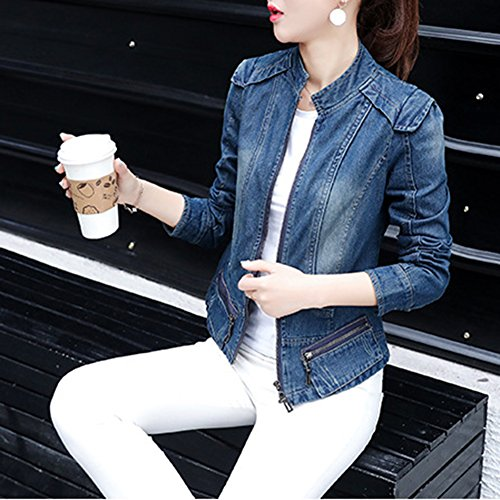 Slim Zipper Bleu Femme Blouson Denim Up Court Denim Jean Jacket Manteau Fit Casual Veste xwBBYIqO