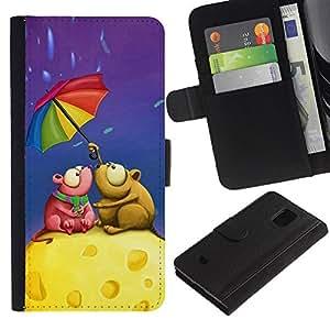 All Phone Most Case / Oferta Especial Cáscara Funda de cuero Monedero Cubierta de proteccion Caso / Wallet Case for Samsung Galaxy S5 Mini, SM-G800 // Cute Love Mouse Couple