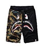 Athletic Pants Shark Pattern Camouflage Stitching Shorts Men Drawstring Sports Shorts(Black L)