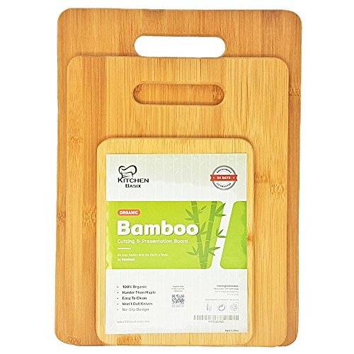Bamboo Cutting Board 3 Piece Set, Made From Premium 100% Organic And Safe Antibacterial Wood, Newest Non-Stick Design, FDA Approved And BPA Free Kitchen Chopper Reversible Stand. Kitchen Basix by Kitchen Basix