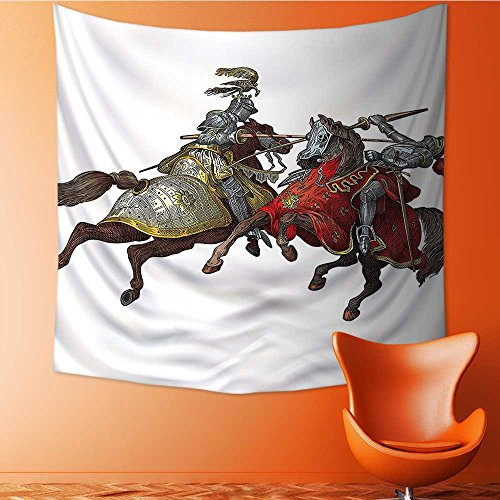 L-QN Wall Tapestry Home Decor Middle Age Fighters Knights with Costume Renaissance Period Tapestries for dorms55W x 55L Inch -