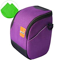 First2savvv BDV0704G11 purple luxury quality anti-shock Nylon camera case bag for Canon PowerShot SX420 . SX410 . EOS M10 . EOS M3. G1X Mark II . G3X + cleaning cloth