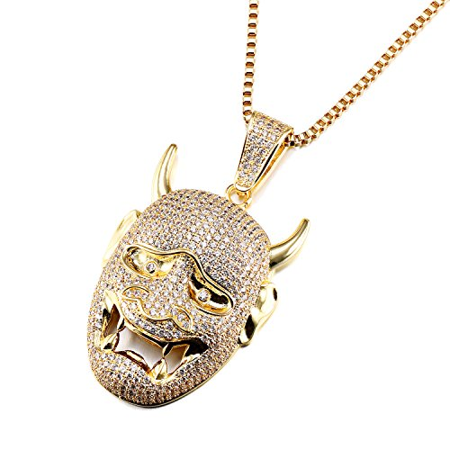 VANAXIN Hip Hop Pendant Jewelry Devil Skull Pendant Necklace Evil Mask AAA Iced Out CZ Inlay Jewelry Men