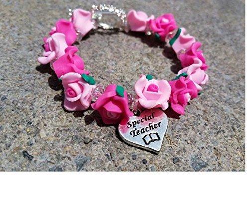 Special Teacher Charm Bracelet / Gift for Teacher / Professor Gift / Teacher Charm Bracelet / Rose Bead Bracelet / Teacher Appreciation Gift