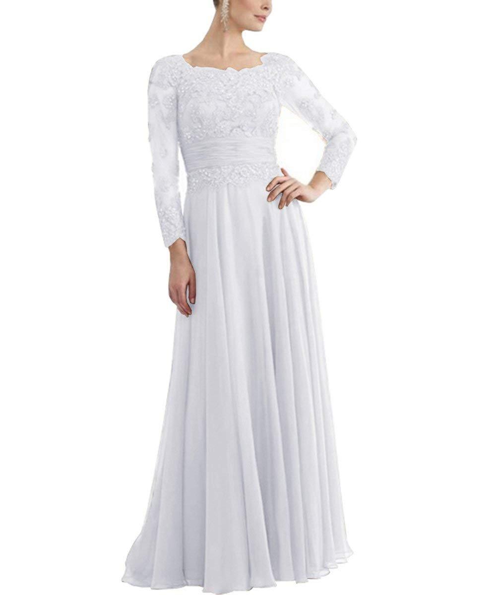 a48366619322 tutu.vivi Womens Long Sleeves Appliques Chiffon Mother of The Bride Dresses  Long Prom Evening Dress White Size16