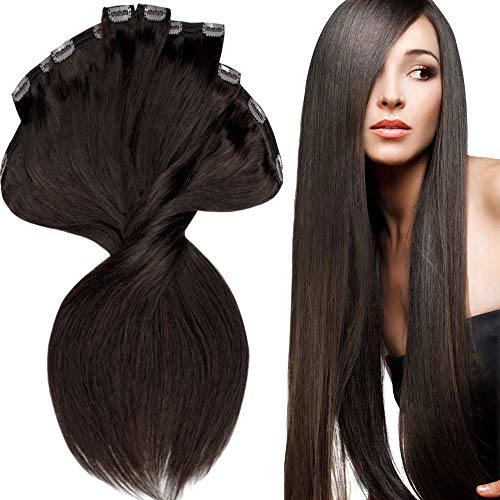 200g Real Triple Weft Extra Thick Clip in 100% Remy Human Hair Extensions Full Head (16 inch 200G 7.05Oz #2 Dark Brown) 8 Pcs Set Grade 10A Natural Hair Pieces Long Straight for Women