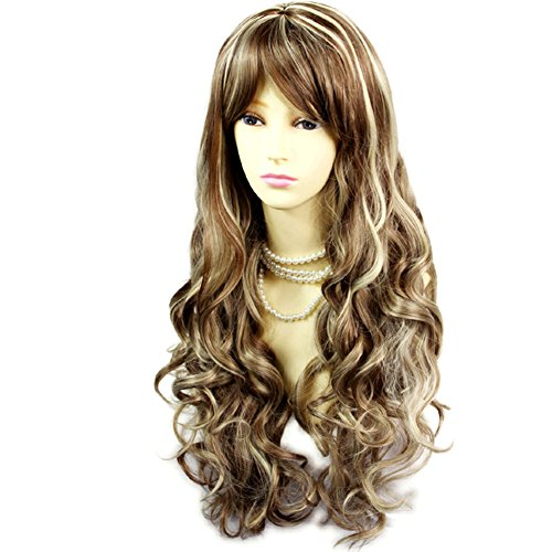 Stunning Sexy Long Wavy Wig Brown mix Blonde Curly Ladies Wigs Skin Top -