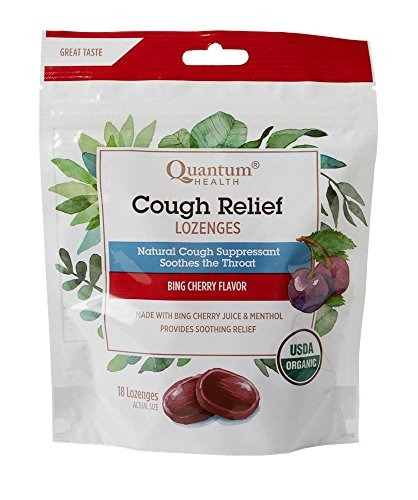 - Quantum Health Organic Cough Relief Lozenges, Bing Cherry, Natural Menthol Cough Suppressant, Bagged, 18 Ct.