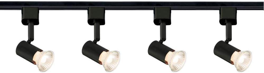 2M 2 Meter 4 Spot Brushed Chrome Multi Directional 5W GU10 LED Rail Track Light