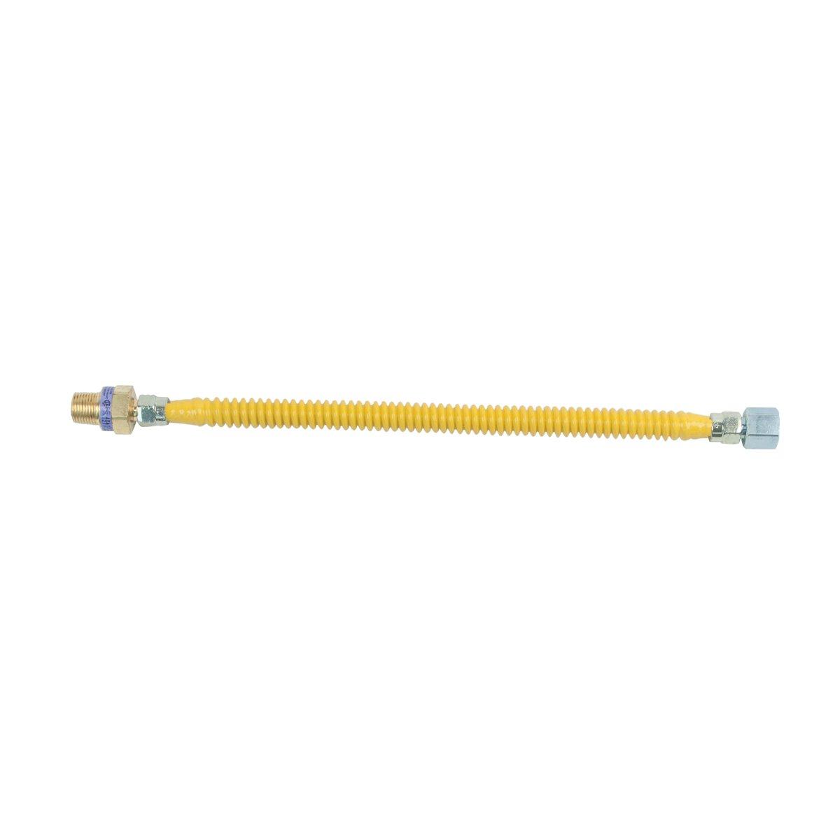 BrassCraft CSSL45R-12 P Safety PLUS Gas 3/8'' OD Connector with 1/2'' MIP EFV x 1/2'' FIP x 12''