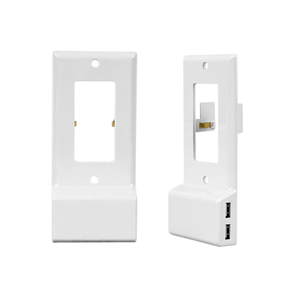BuryTony (Decor) Dual USB Charger Snap-on Wall Plate Case Electrical Outlet Cover Smart Charger Ports Easy Install Max 3amp home improvement