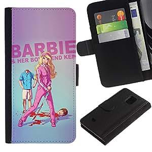 iKiki Tech / Cartera Funda Carcasa - Doll Blonde Thin Move Uma Parody Sword - Samsung Galaxy S5 Mini, SM-G800, NOT S5 REGULAR!
