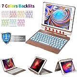 iPad Keyboard Case iPad Pro 9.7 inch, New 2018 iPad, 2017 iPad, iPad Air 1 2 Wireless Bluetooth, 7 Color Backlits, Detachable Smart Keyboard case