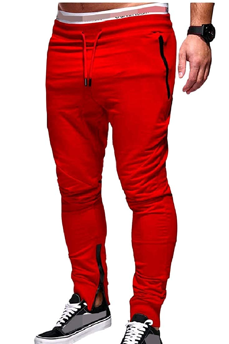 Winwinus Mens Elastic Waist Drawstring Solid-Colored Frill Pants