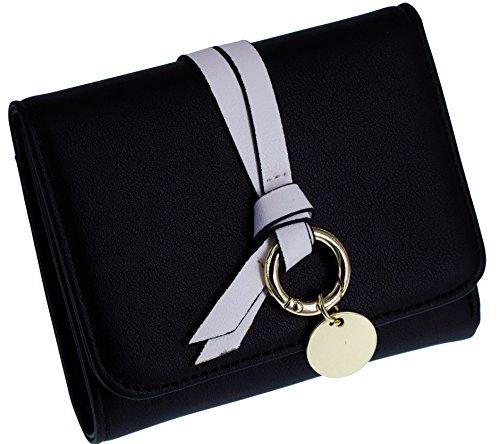 Women Retro Long Leather Wallet Black Pink - 9