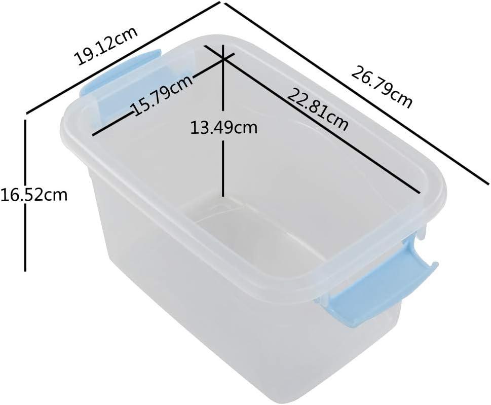 5 Unidades Pl/ástico Mayish 7.5qt //8.5l Cajas de Almacenamiento con Tapa y Asas para El Hogar