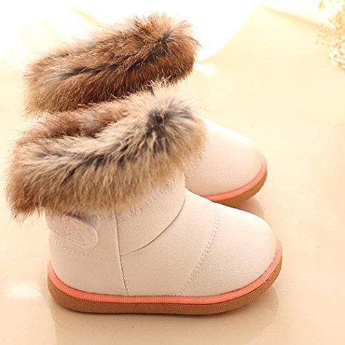 Tefamore Zapatos Bebe de Antideslizante de Suave de Moda Zapatilla Cuero de Primeros caminantes Invierno Otoño Blanco