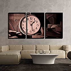 wall26 - 3 Piece Canvas Wall Art - Old Clock in a Printing - Modern Home Decor Stretched and Framed Ready to Hang - 24x36x3 Panels