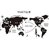 Grandman New Large World Map Wall Stickers Original Creative Letters Map Wall Art Bedroom Home Decorations Wall Decals-02