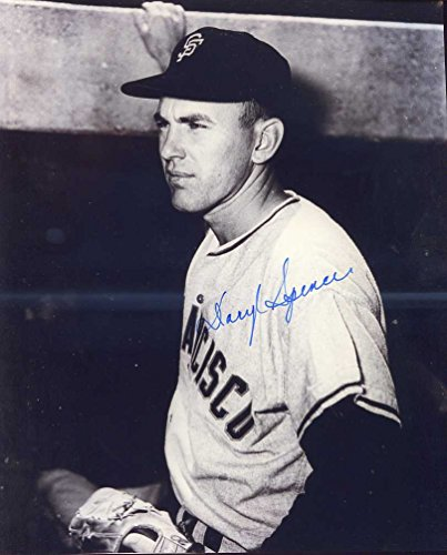 (Daryl Spencer (D.) Autographed/Original Signed 8x10 B&W Photo Showing Him w/the San Francisco Giants - He Hit the First Homerun in San Francisco Giants History in 1958)