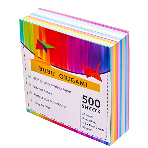 Origami Paper Economy Pack 500 Sheets - 10 Vivid Colors Single Sided - 6 Inch Square Size Easy Fold Paper for Kid's Art