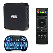 Wayer V88 Rockchip 3229 Quad Core Android 5.1 TV Box + LED Wireless Keyboard, 1.5GHZ 1GB/8GB KODI Fully Online Loaded with Sports/3D Movies Smart Streaming Media Player