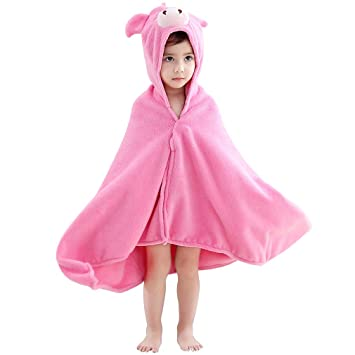 94ac4ab89b MICHLEY Animal Face Baby Bath Towels, Highly Absorbent Coral Fleece  Bathrobe for Boys Girls 0-5T (Pig)