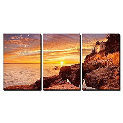 Incredible Craft, The Bass Harbor Head Lighthouse in Acadia National Park Maine USA x3 Panels, Professional Creation