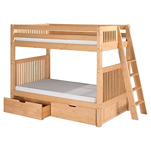 95.5 in. Bunk Bed with Twin Trundle in Natural Finish