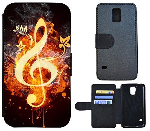 Flip Cover Schutz Hülle Handy Tasche Etui Case für (Samsung Galaxy S5 / S5 Neo, 1412 Notenschlüssel Musik Feuern Abstract)
